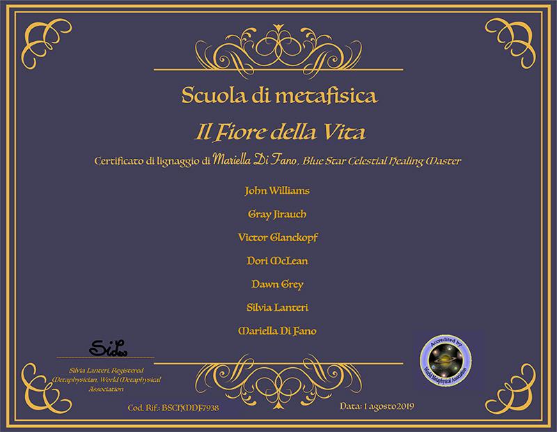 Mariella DI Fano - blue star celestial energy certificato